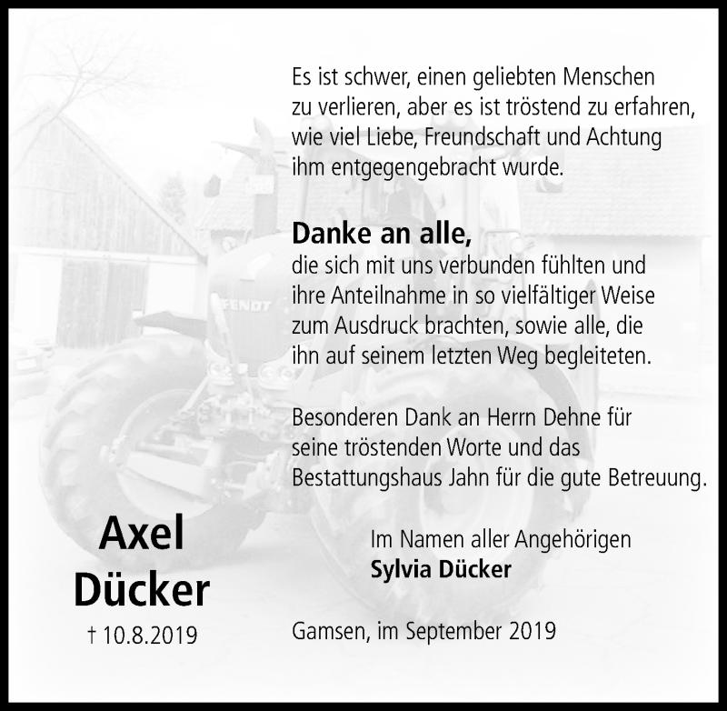 Traueranzeige für Axel Dücker vom 21.09.2019 aus Aller Zeitung
