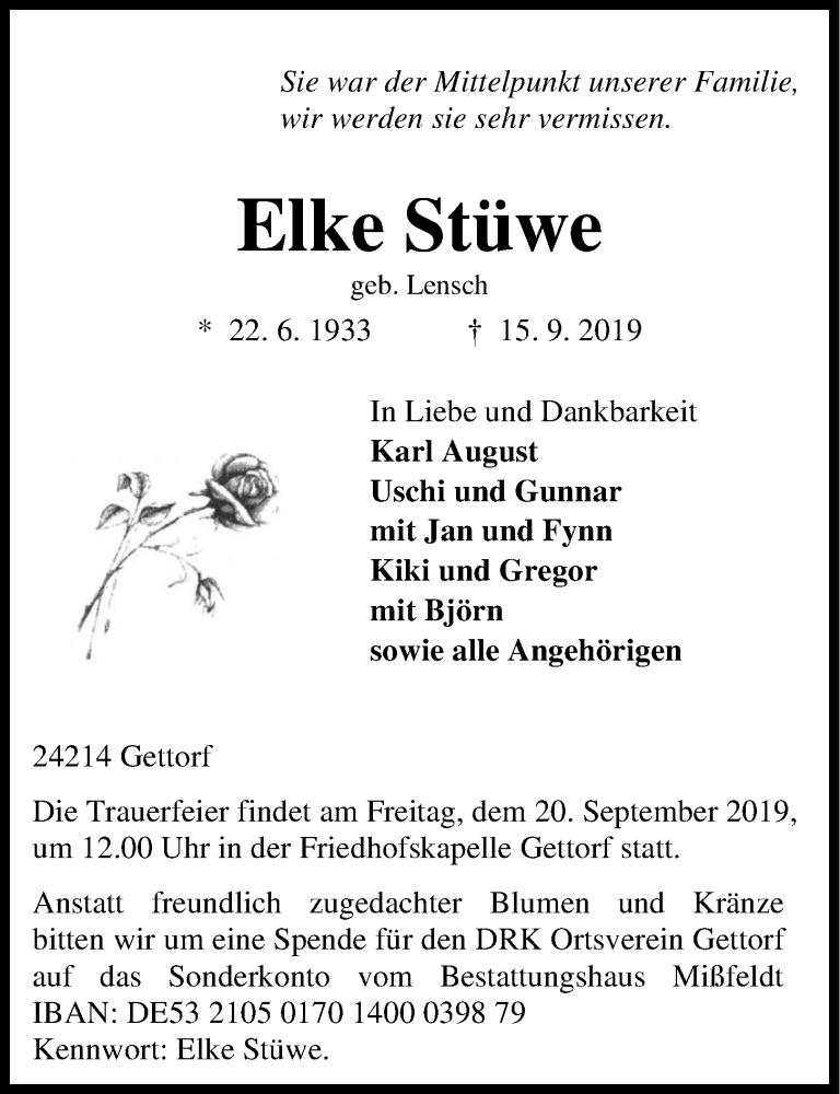 Traueranzeige für Elke Stüwe vom 18.09.2019 aus Kieler Nachrichten