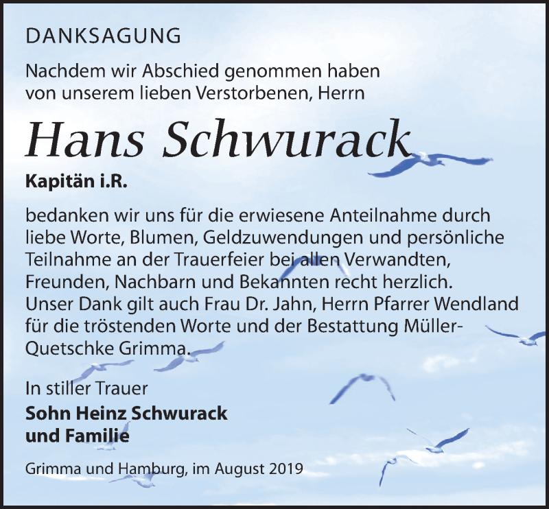 Traueranzeige für Hans Schwurack vom 31.08.2019 aus Leipziger Volkszeitung