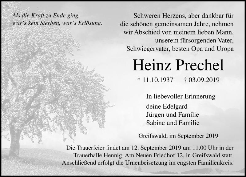 Traueranzeige für Heinz Prechel vom 07.09.2019 aus Ostsee-Zeitung GmbH