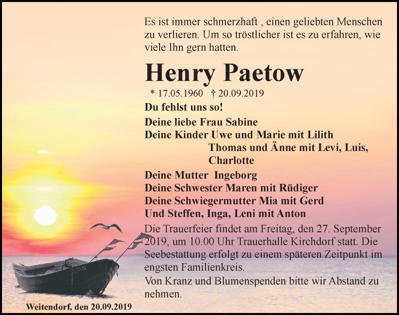 Traueranzeige für Henry Paetow vom 25.09.2019 aus Ostsee-Zeitung GmbH