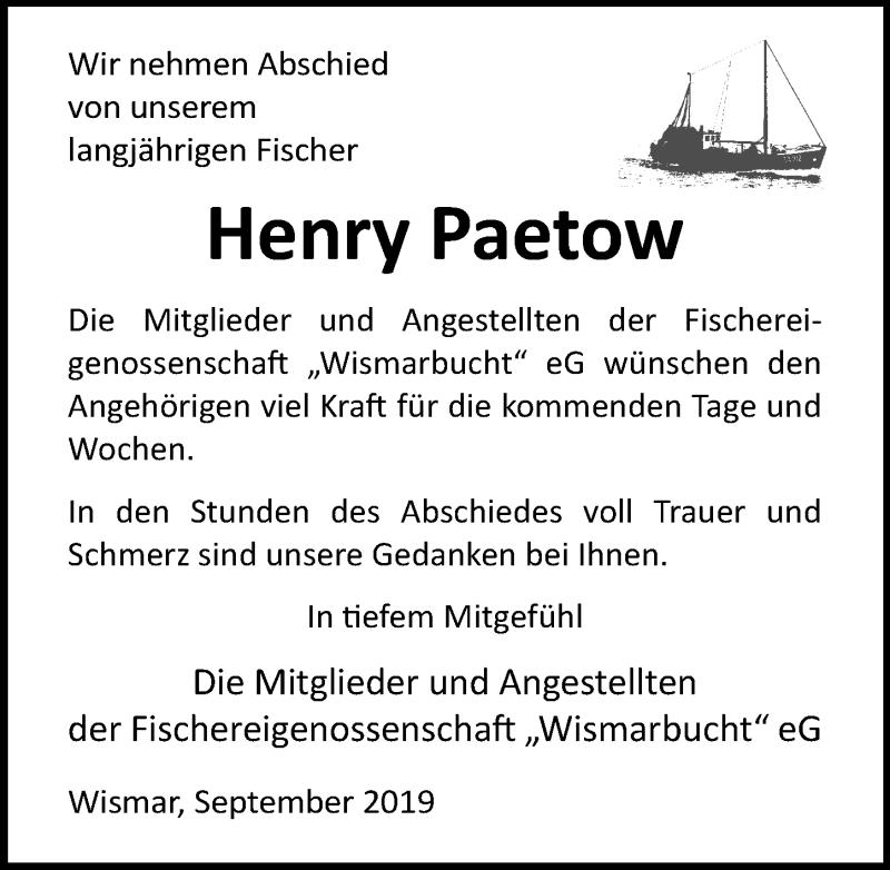 Traueranzeige für Henry Paetow vom 28.09.2019 aus Ostsee-Zeitung GmbH