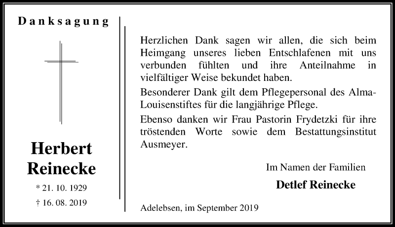 Traueranzeige für Herbert Reinecke vom 21.09.2019 aus Göttinger Tageblatt