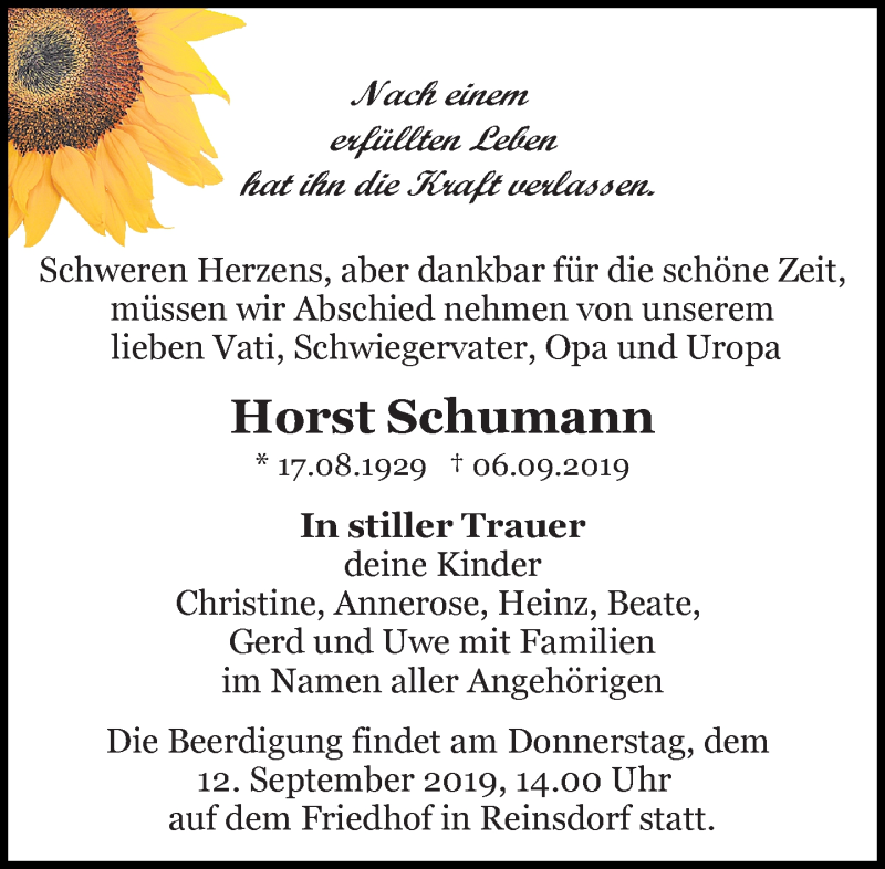 Traueranzeige für Horst Schumann vom 10.09.2019 aus Leipziger Volkszeitung