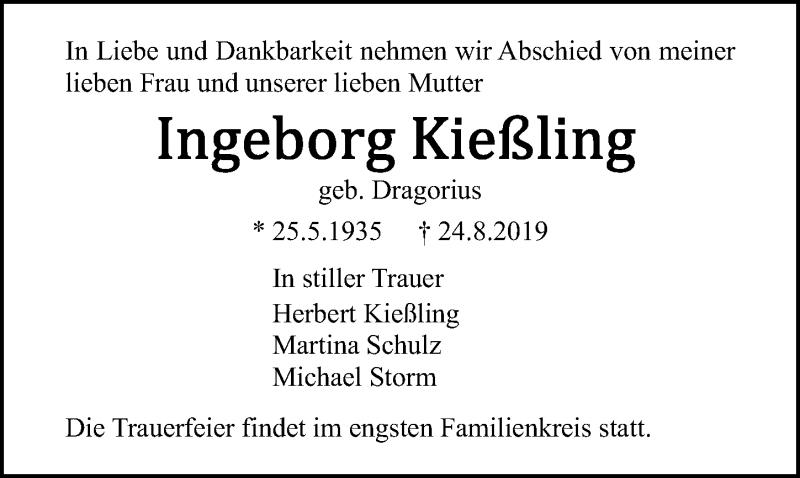Traueranzeige für Ingeborg Kießling vom 31.08.2019 aus Ostsee-Zeitung GmbH