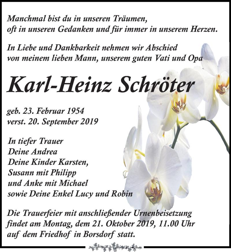 Traueranzeige für Karl-Heinz Schröter vom 28.09.2019 aus Leipziger Volkszeitung