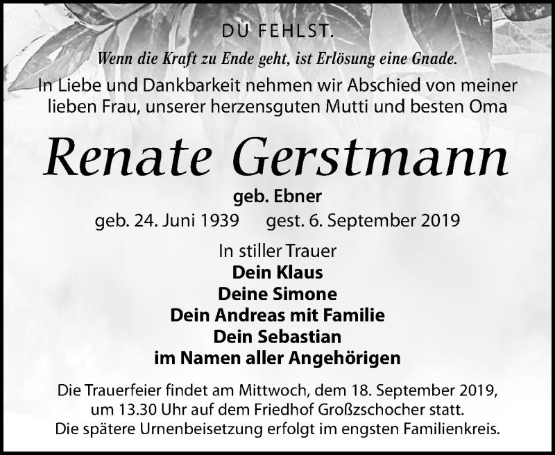 Traueranzeige für Renate Gerstmann vom 14.09.2019 aus Leipziger Volkszeitung