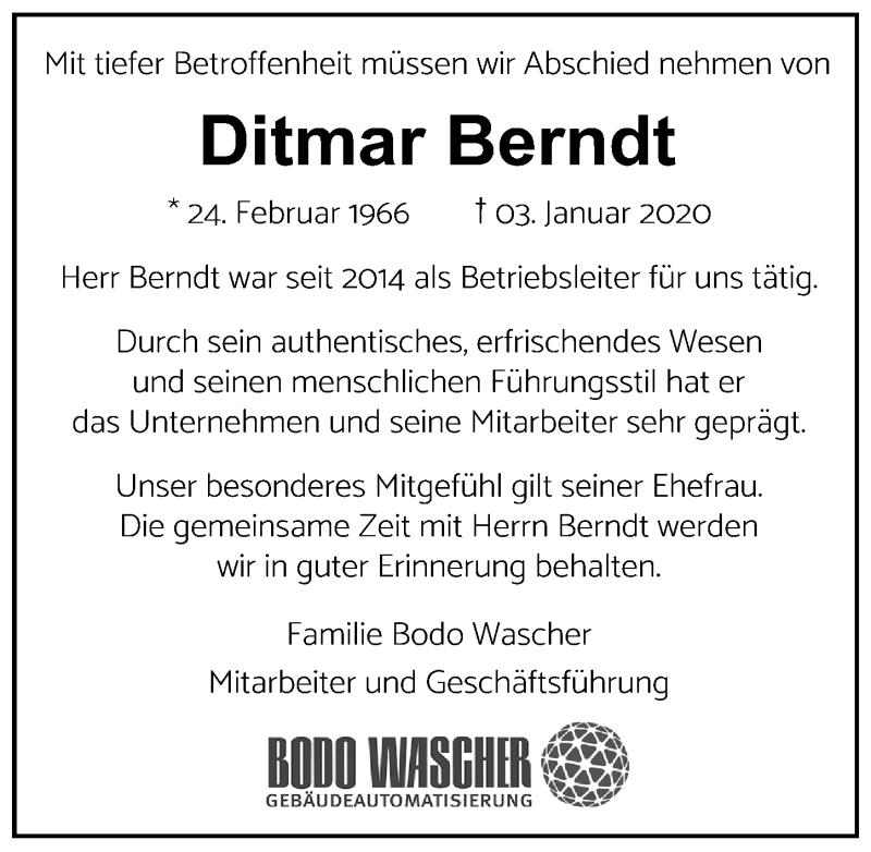 Traueranzeige für Ditmar Berndt vom 12.01.2020 aus Lübecker Nachrichten