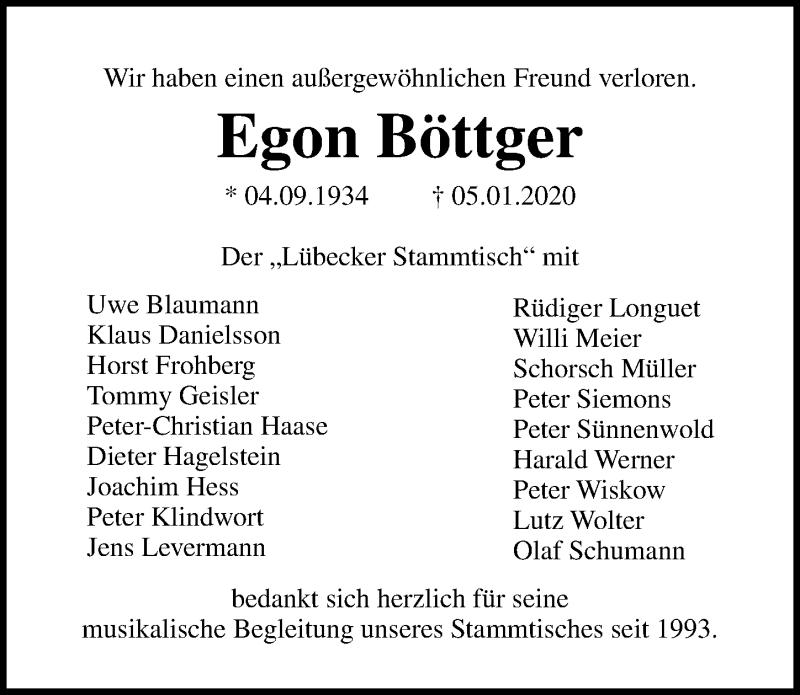 Traueranzeige für Egon Böttger vom 12.01.2020 aus Lübecker Nachrichten
