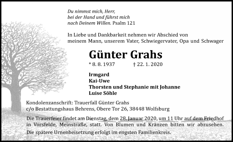 Traueranzeige von  Günter Grahs