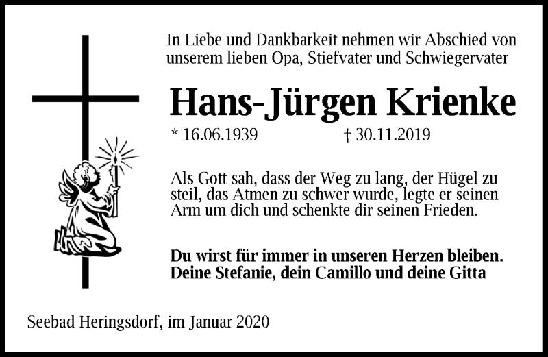 Traueranzeige von  Hans-Jürgen Krienke