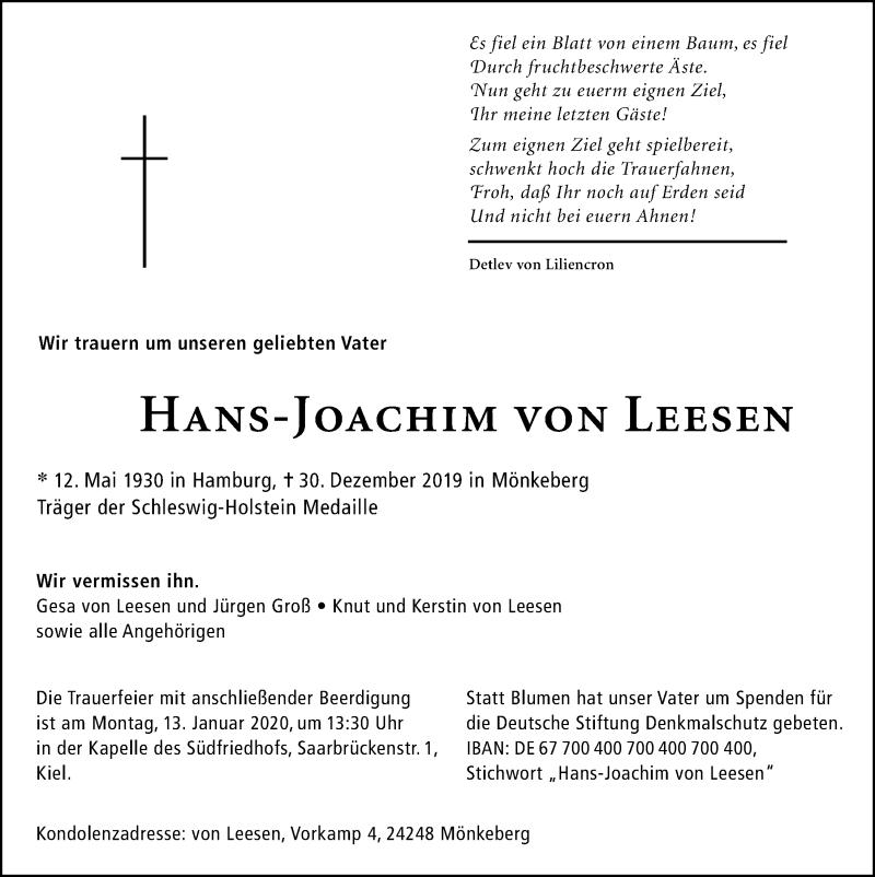 Traueranzeige für Hans-Joachim von Leesen vom 04.01.2020 aus Kieler Nachrichten