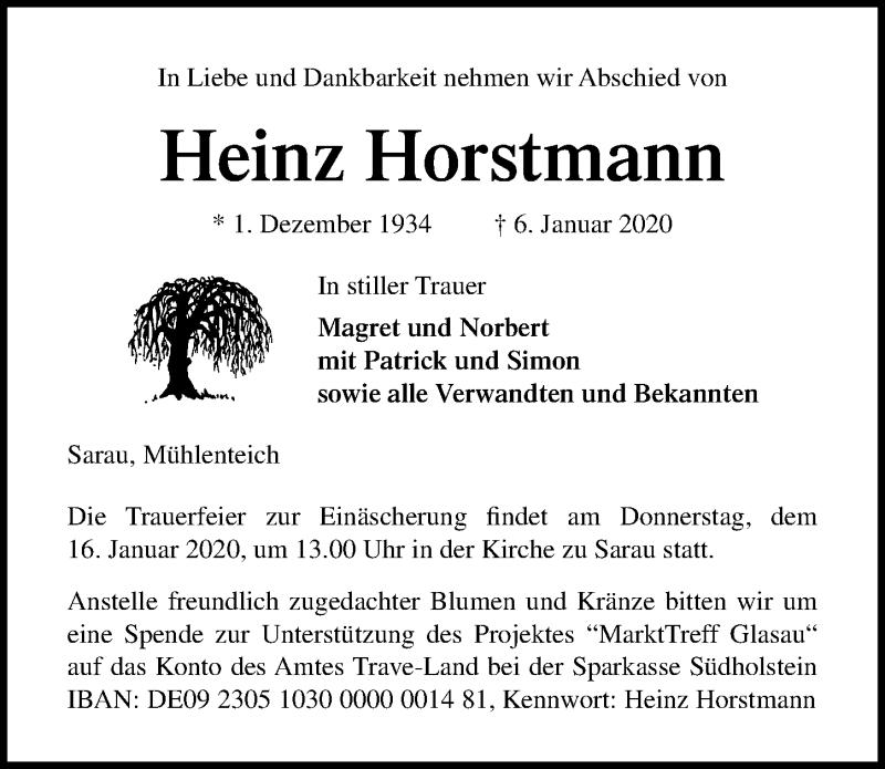 Traueranzeige für Heinz Horstmann vom 11.01.2020 aus Lübecker Nachrichten