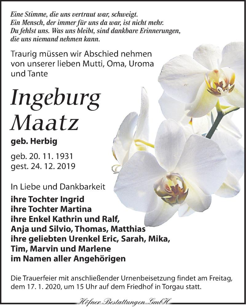 Traueranzeige für Ingeburg Maatz vom 04.01.2020 aus Torgauer Zeitung