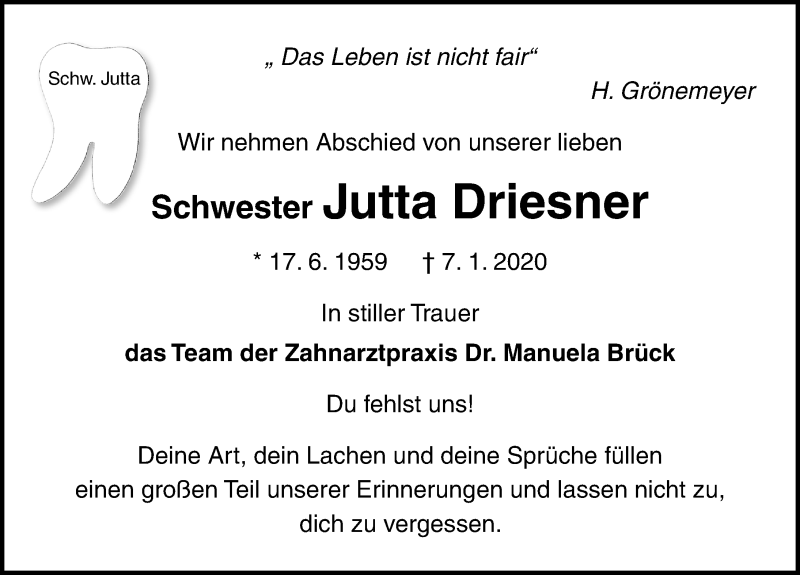 Traueranzeige für Jutta Driesner vom 18.01.2020 aus Ostsee-Zeitung GmbH