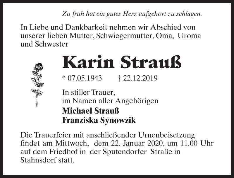 Traueranzeige für Karin Strauß vom 11.01.2020 aus Märkischen Allgemeine Zeitung