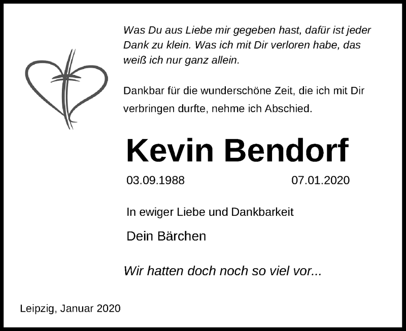 Traueranzeige für Kevin Bendorf vom 11.01.2020 aus Leipziger Volkszeitung