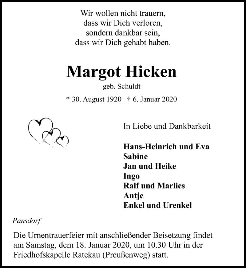 Traueranzeige für Margot Hicken vom 11.01.2020 aus Lübecker Nachrichten