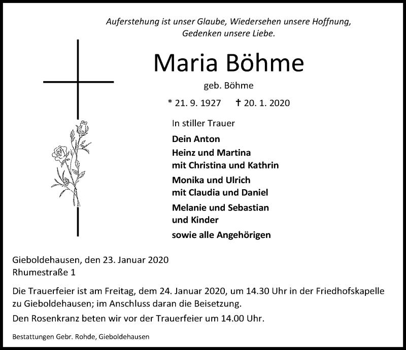 Traueranzeige von  Maria Böhme
