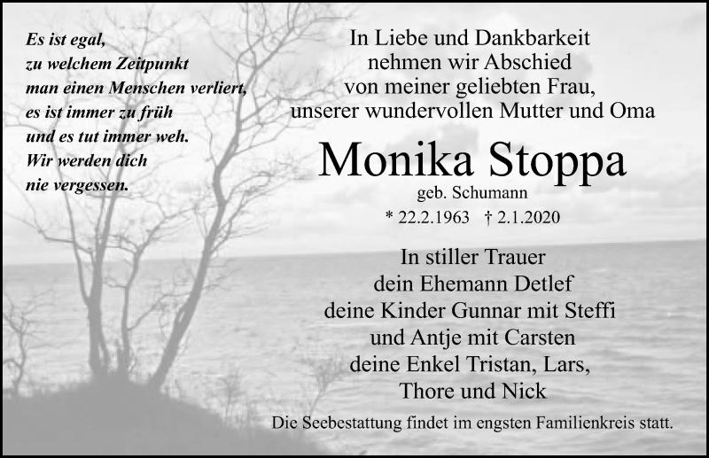 Traueranzeige für Monika Stoppa vom 11.01.2020 aus Ostsee-Zeitung GmbH