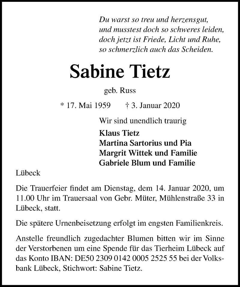 Traueranzeige für Sabine Tietz vom 12.01.2020 aus Lübecker Nachrichten