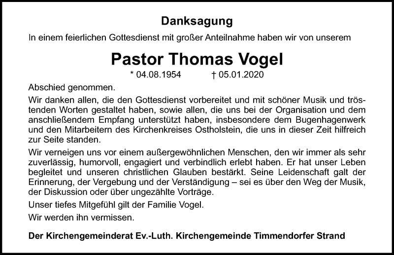 Traueranzeige für Thomas Vogel vom 26.01.2020 aus Lübecker Nachrichten