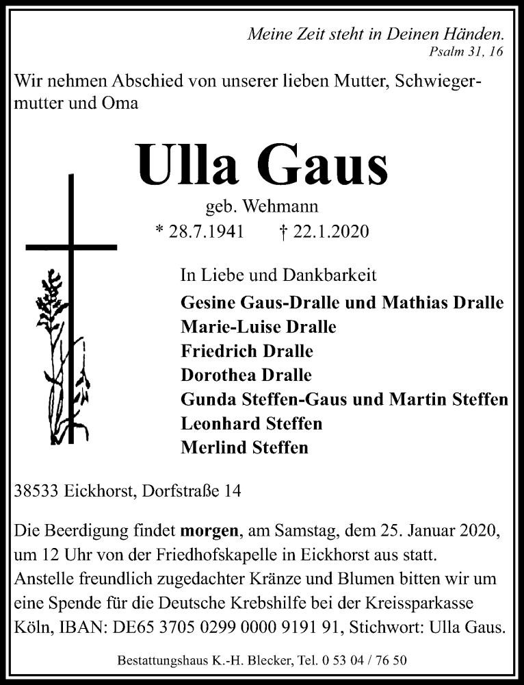 Traueranzeige von  Ulla Gaus
