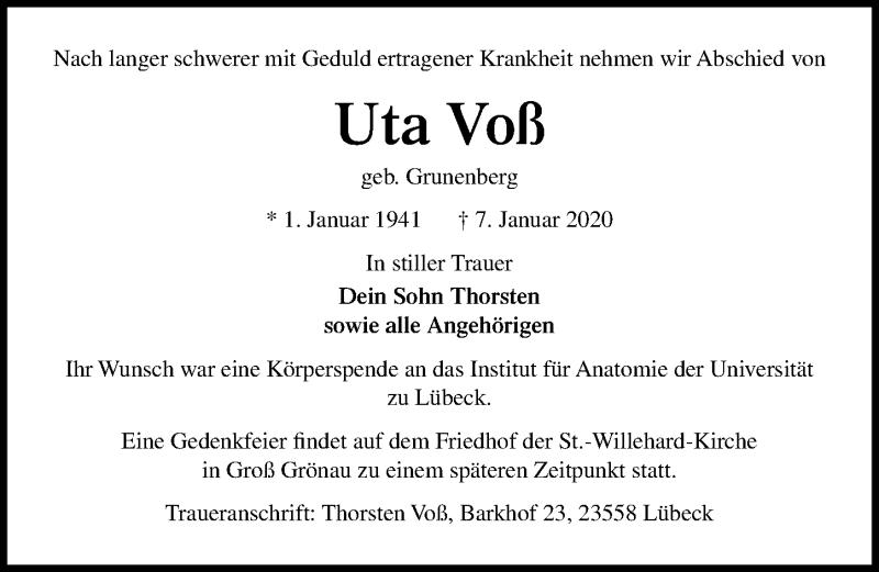Traueranzeige für Uta Voß vom 12.01.2020 aus Lübecker Nachrichten