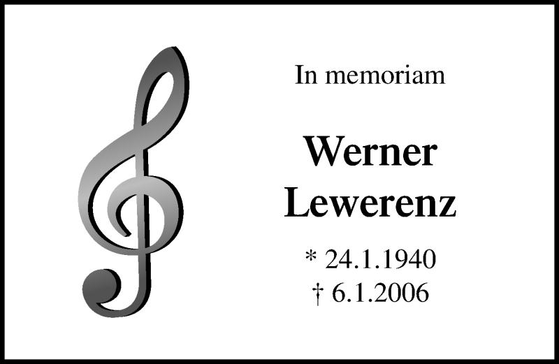 Traueranzeige von  Werner Lewerenz