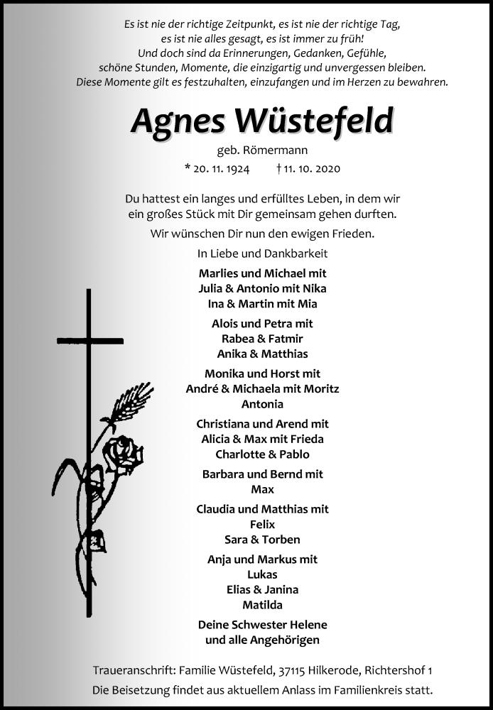 Traueranzeige für Agnes Wüstefeld vom 14.10.2020 aus Göttinger Tageblatt