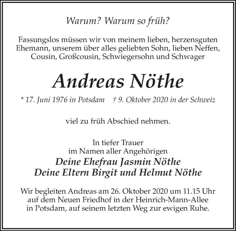 Traueranzeige für Andreas Nöthe vom 17.10.2020 aus Märkischen Allgemeine Zeitung