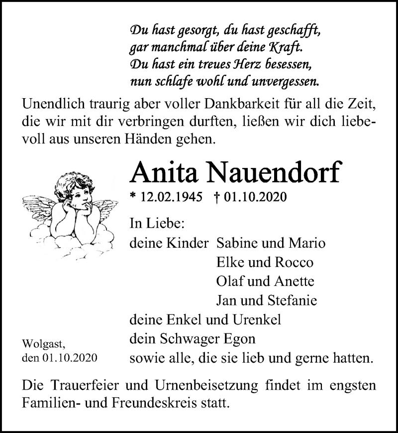 Traueranzeige für Anita Nauendorf vom 10.10.2020 aus Ostsee-Zeitung GmbH