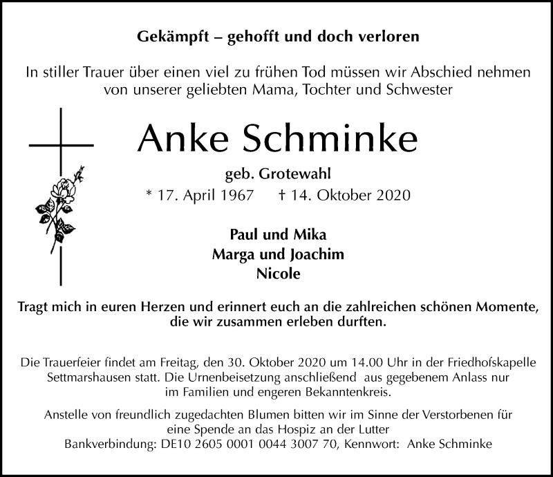 Traueranzeige für Anke Schminke vom 17.10.2020 aus Göttinger Tageblatt