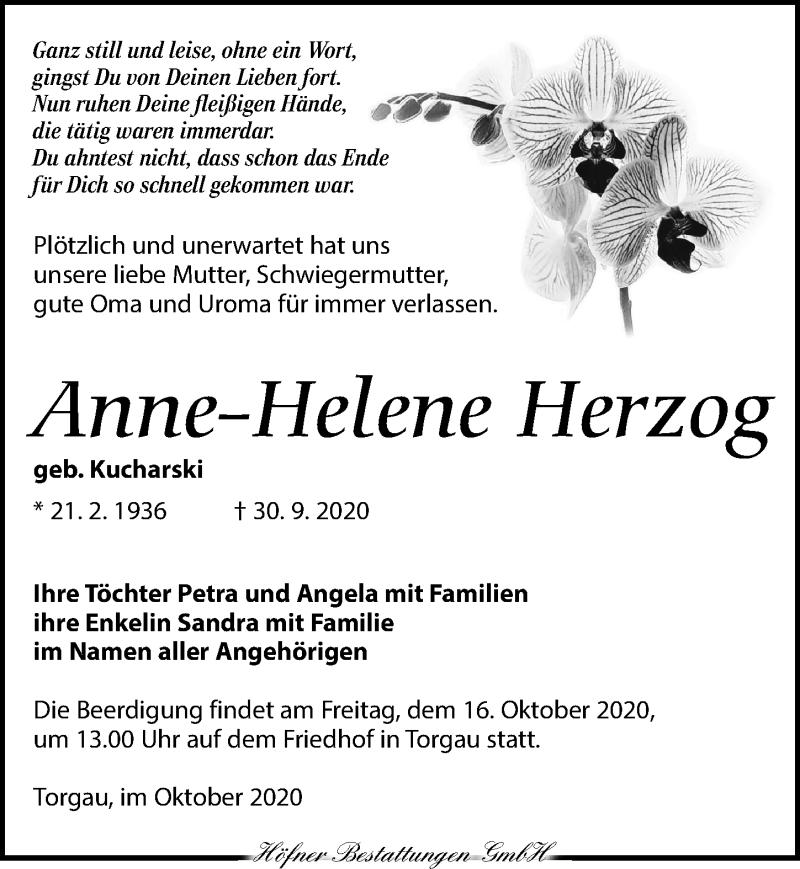 Traueranzeige für Anne-Helene Herzog vom 10.10.2020 aus Torgauer Zeitung