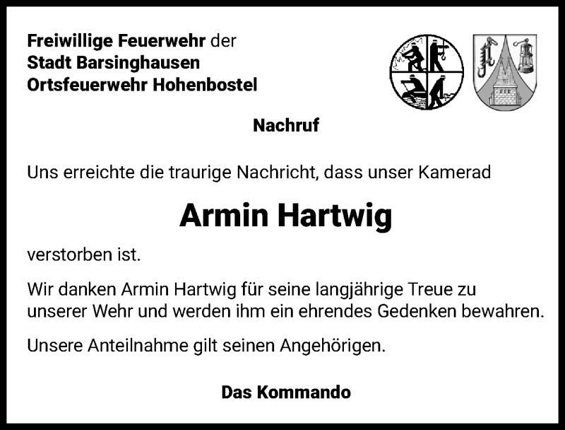 Traueranzeige für Armin Hartwig vom 24.10.2020 aus Hannoversche Allgemeine Zeitung/Neue Presse