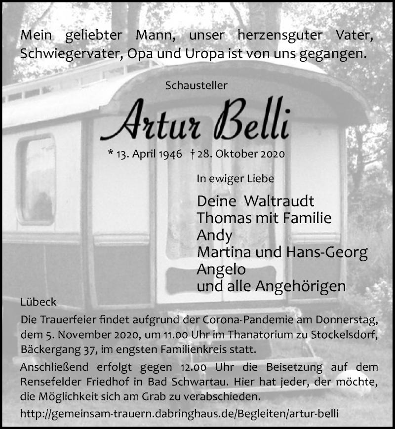 Traueranzeige für Artur Belli vom 31.10.2020 aus Lübecker Nachrichten
