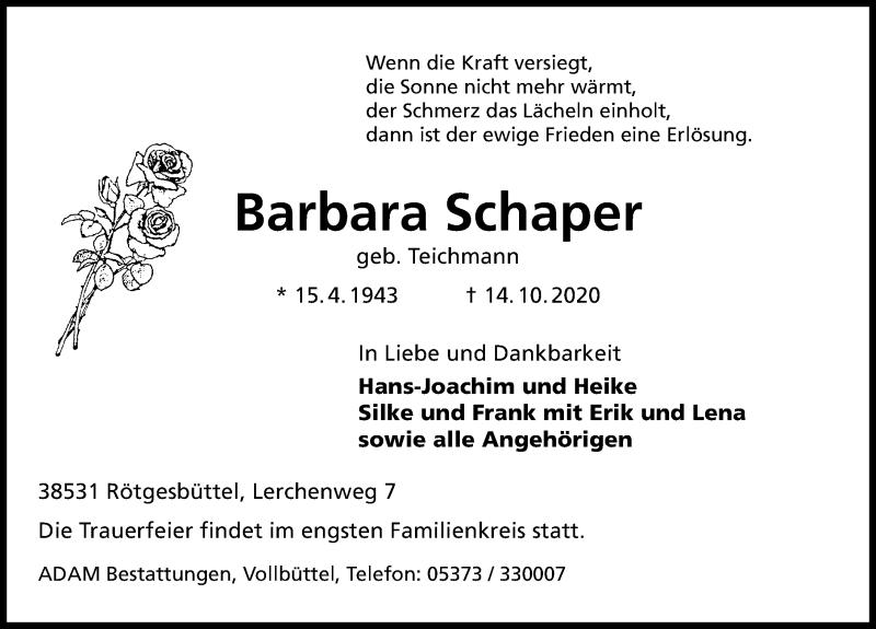 Traueranzeige für Barbara Schaper vom 17.10.2020 aus Aller Zeitung