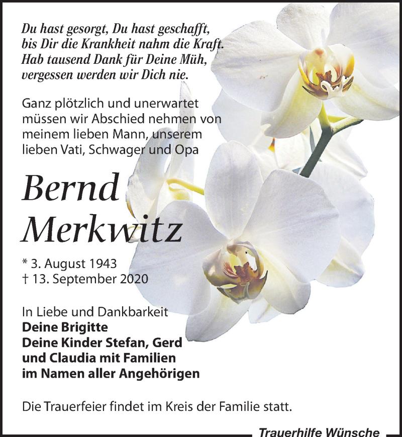Traueranzeige für Bernd Merkwitz vom 02.10.2020 aus Leipziger Volkszeitung