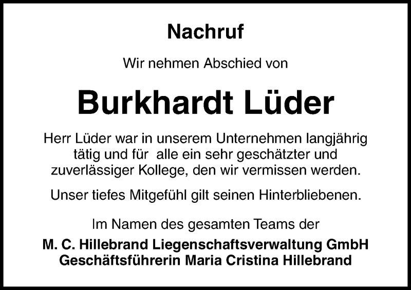 Traueranzeige für Burkhardt Lüder vom 24.10.2020 aus Ostsee-Zeitung GmbH