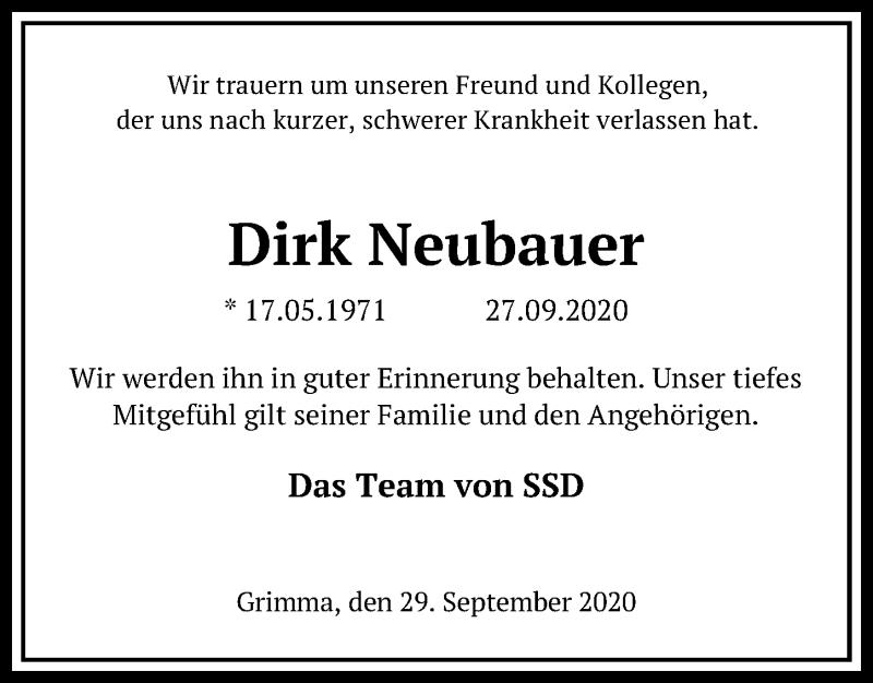 Traueranzeige von  Dirk Neubauer