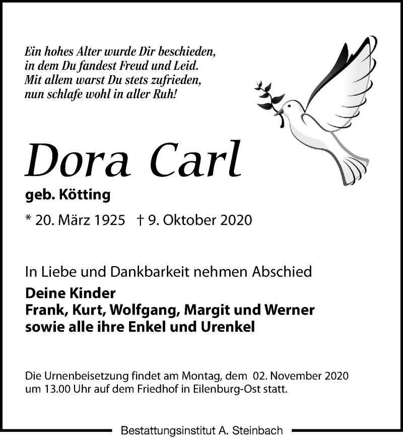 Traueranzeige für Dora Carl vom 17.10.2020 aus Leipziger Volkszeitung