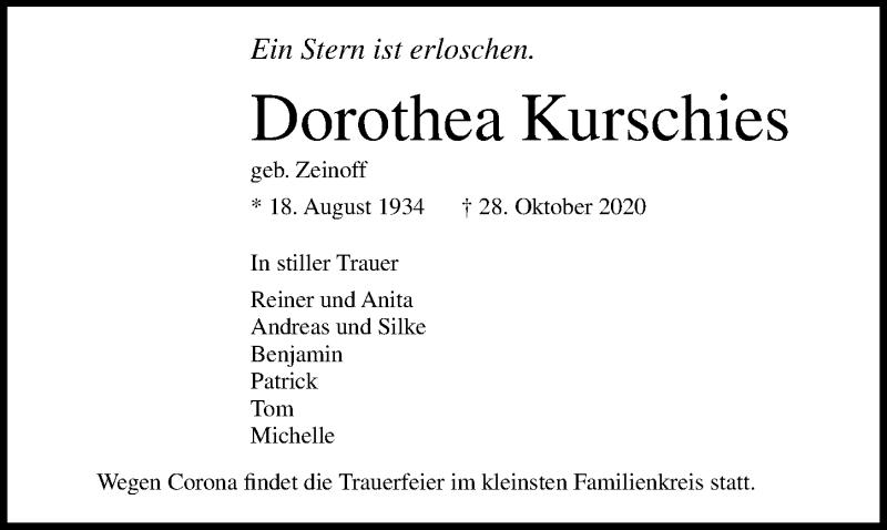 Traueranzeige für Dorothea Kurschies vom 31.10.2020 aus Lübecker Nachrichten