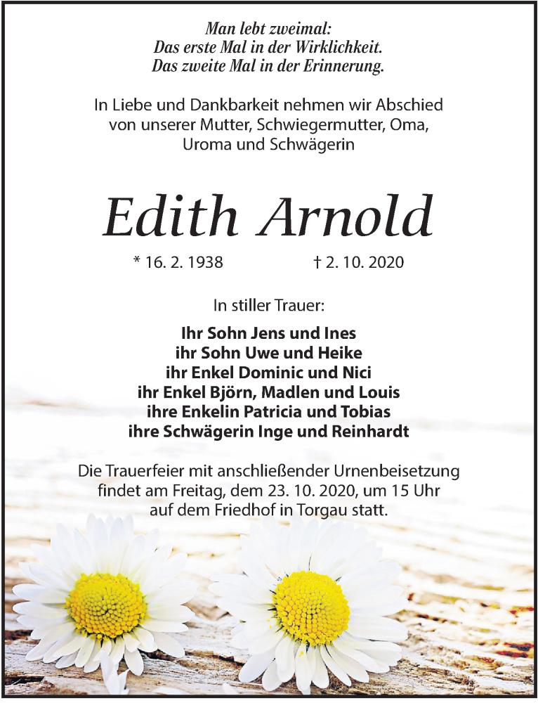 Traueranzeige für Edith Arnold vom 17.10.2020 aus Torgauer Zeitung