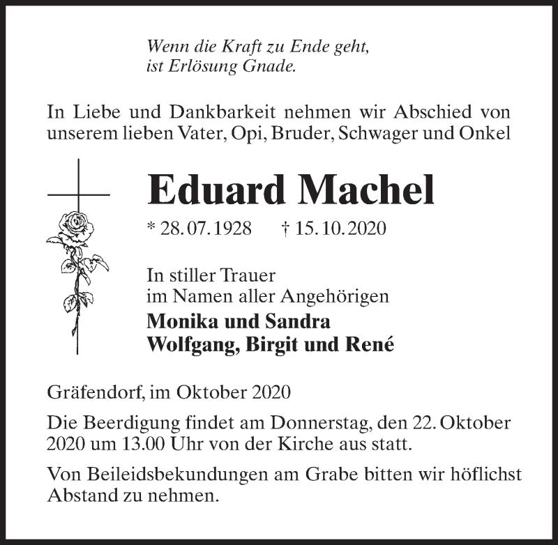 Traueranzeige für Eduard Machel vom 17.10.2020 aus Märkischen Allgemeine Zeitung