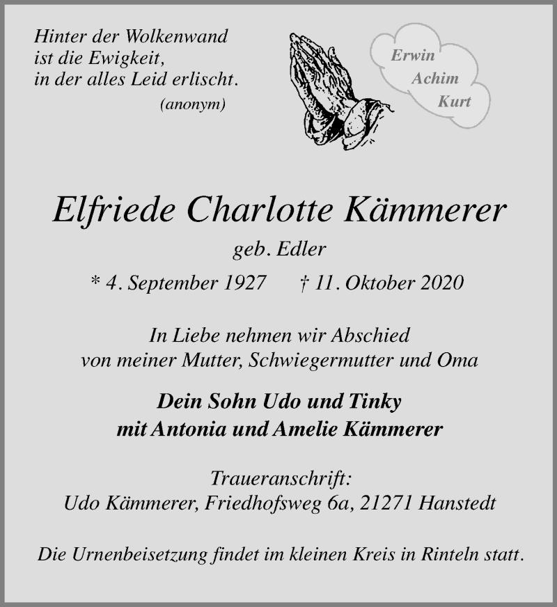 Traueranzeige für Elfriede Charlotte Kämmerer vom 17.10.2020 aus Schaumburger Nachrichten