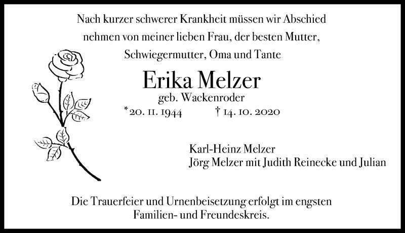 Traueranzeige für Erika Melzer vom 17.10.2020 aus Hannoversche Allgemeine Zeitung/Neue Presse