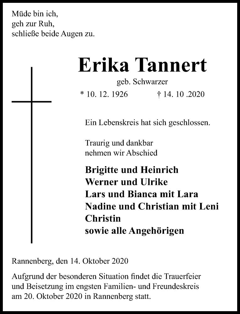 Traueranzeige für Erika Tannert vom 17.10.2020 aus Schaumburger Nachrichten
