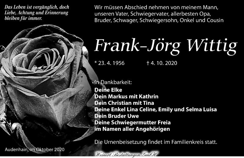 Traueranzeige für Frank-Jörg Wittig vom 10.10.2020 aus Torgauer Zeitung