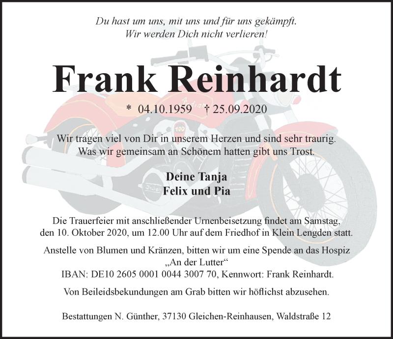 Traueranzeige für Frank Reinhardt vom 02.10.2020 aus Göttinger Tageblatt