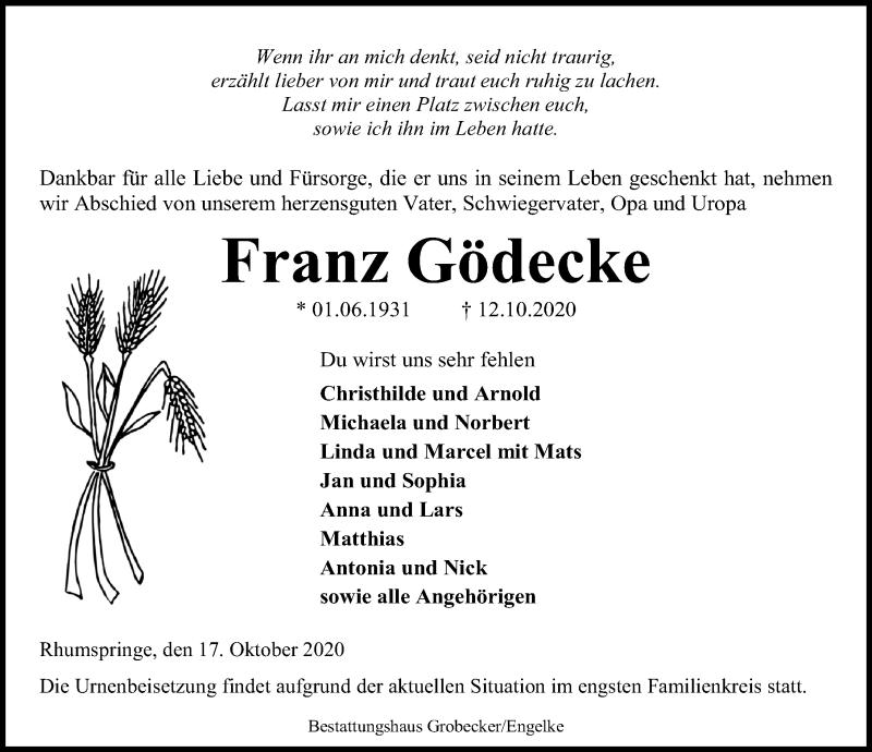 Traueranzeige für Franz Gödecke vom 17.10.2020 aus Eichsfelder Tageblatt